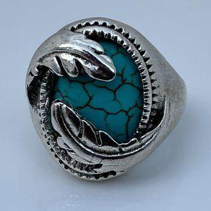 Ring Silver Tone Fashion Turquoise Fashion Stone